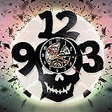 fdgdfgd De Pared de Vinilo de decoración de Horror de Halloween de Reloj de Pared de Calavera de Demonio de diseño de diseño Reloj de Pared de Disco de Vinilo | Sorpresa Antes de Navidad