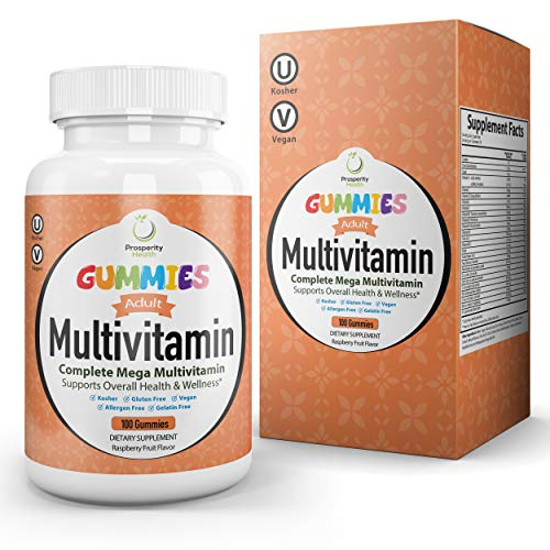 Adult Multivitamin Gummies by Prosperity Health ®| Raspberry Flavor Mens & Womens Multivitamin Gummies 100 Count (50 Day Supply)| Vegan, Kosher, Gluten Free, Allergen Free, Gelatin Free