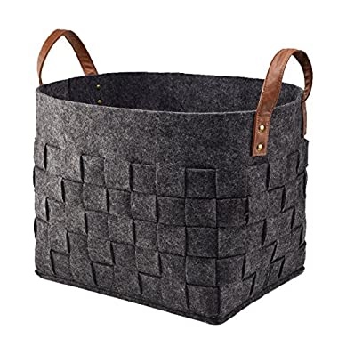 LoongBaby Felt Storage Baskets With Handles Soft Durable Toy Storage Nursery Bins Home Decorations (Black)