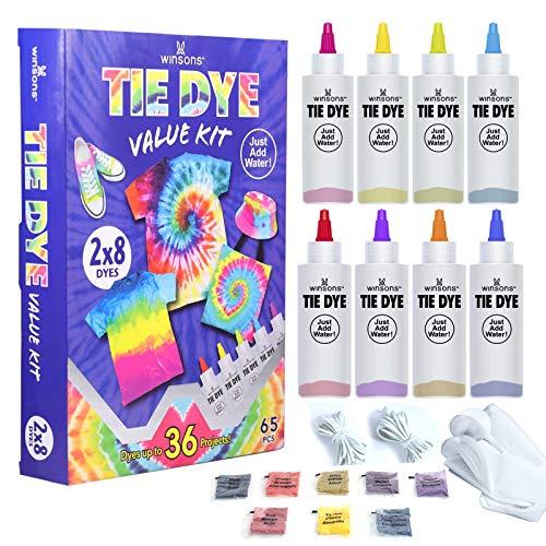 WINSONS 8 Farben Tie Dye Kit Textilfarben Stoffmalfarben Stofffarben für DIY Kleidung für Kinder Erwachsene Mädchen Junge