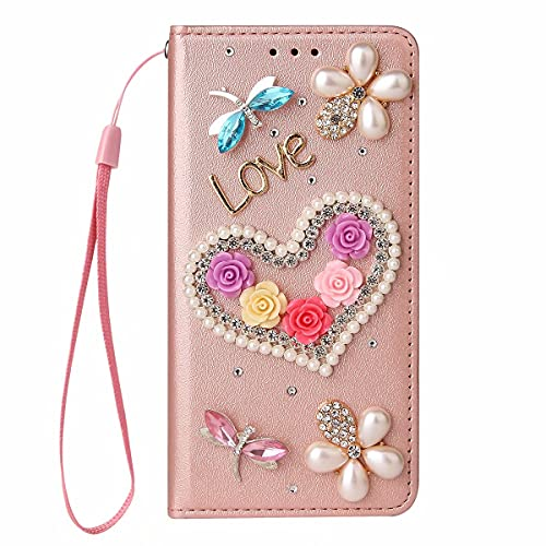 Miagon Bling Rhinestone Flip Case for Samsung Galaxy S21 Ultra,3D Handmade Jewellery Crystal PU Leather Case Diamond Cover Stand Wallet Card Holder,Heart Rose Gold