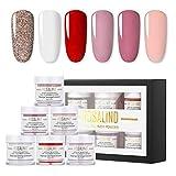 ROSALIND 3-in-1 Powder Starter Kits 6 Colors,Acrylic Nail Powder,Dipping Powder,Nail Extension Powder,Multifunctional Nail Art Powder