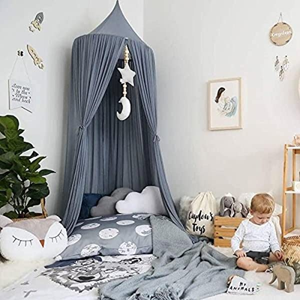 Ivivian Mosquito Net Canopy Dome Princess Bed Canopy Bedcover Curtain Tent Children S Room Decorate For Baby Kids Indoor Outdoor Playing Reading 240cm Gray