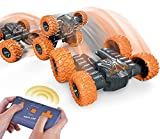 Gemgucar 2.4Ghz Remote Control Car for Kids and Adults Fast RC Mini Stunt Car High Speed Off Road Stunt Truck Rotating RC Car Rechargeable Toy Car Birthday Gifts for Boys Age 6-11 Year Old (Orange)