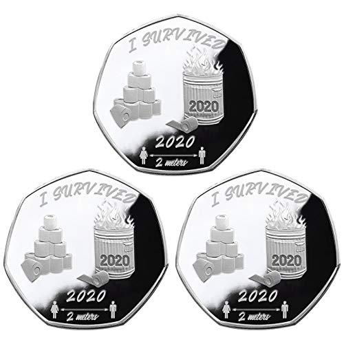 KULOKME 2pcs Gold & Silber 2020 Überlebende Gedenkmünze Sechseckig Doppelseitige Gedenkmünzen (3pcs Silber 05)