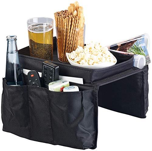 infactory Sofa Butler: Sofa-Organizer mit 5 Taschen und Ablagefläche für Snacks und Getränke (Sofa Ablage)