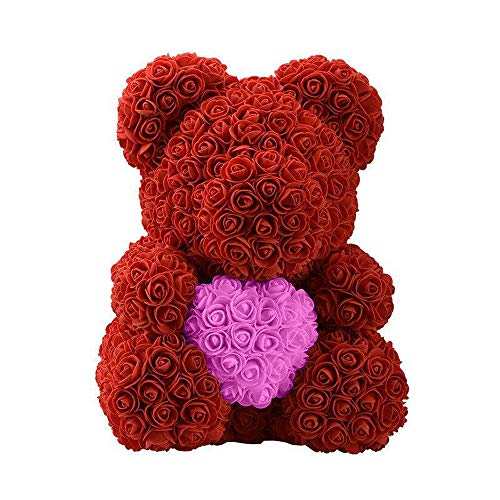 """Forever Rose Teddy Bear,Rosa Artificial,15.7 """"Flor de Rosa Oso de Pelu"""