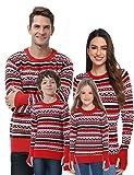 Akalnny Jersey Suéter de Navidad Punto con Cuello Redondo Casual Manga Larga Navideños Suéteres para la Familia Invierno Mujer Rojo