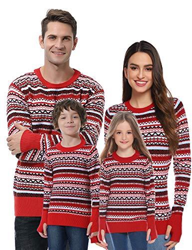 Akalnny Jersey Suéter de Navidad Punto con Cuello Redondo Casual Manga Larga Navideños Suéteres para la Familia Invierno