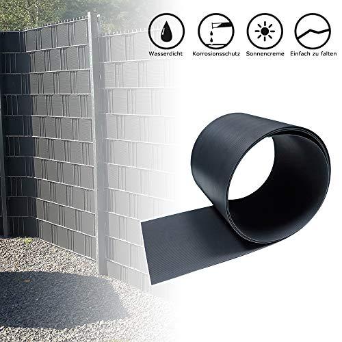 Froadp 10 Stück Hart PVC Sichtschutzstreifen 2,5m x 19cm Sichtschutz Windschutz Garten für Doppelstabmattenzaun Zaun Zaunsichtschutz Anthrazit
