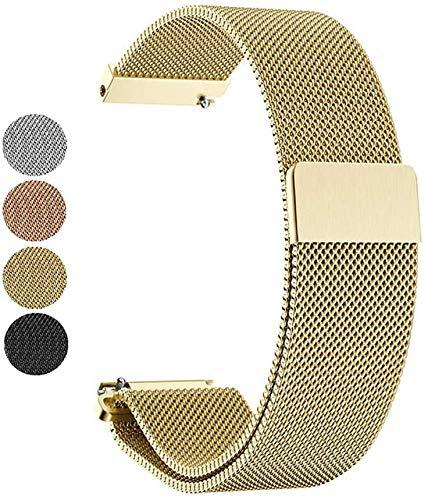Mediatech Armband für Garmin Vivoactive 3 / Gear Sport 20mm Stegbreite Edelstahl-Armband, Ersatz Uhrenarmband, Wechselarmband, Magnetverschluss kompatibel für Samsung Galaxy Watch 42mm (Gold)