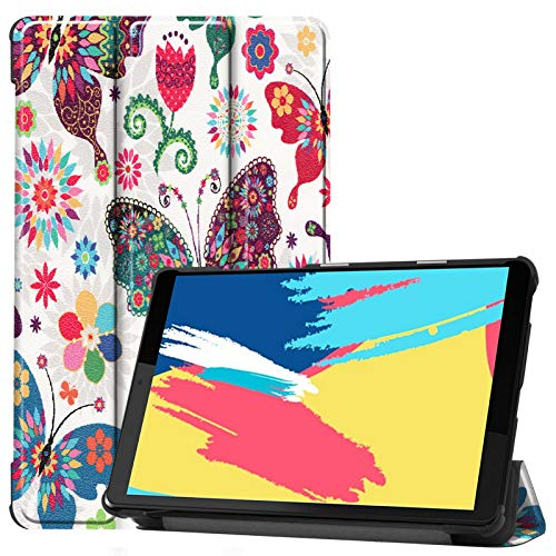 DWaybox Funda para Lenovo Tab M8 FHD TB-8705F TB-8705N, Funda Protectora Delgada y Liviana, rígida para Lenovo Tab M8 HD Funda para Tableta TB-8505F TB-8505X con Soporte -Mariposa