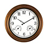 Q-HL Reloj de Pared Reloj de Pared silencioso de 18 Pulgadas Reloj Interior, números arábigos Antiguos Que no marcan Relojes con termómetro e higrómetro, con Pilas (Color : A, Size : 18inch)