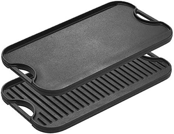 Lodge LPGI3 Pro Grid Cast Iron Reversible 20 X 10 Grill Griddle Pan With Easy Grip Handles 10 X 20