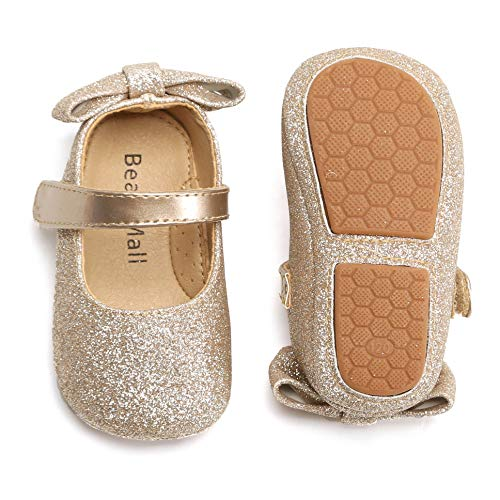 SOFMUO Baby Girls Mary Jane Flats Soft Sole Infant Moccasins Floral Sparkly Toddler Princess Wedding Party Holiday Dress Shoes(Gold,12-18 Months)
