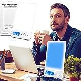 HyAdierTech Lampe de Luminothérapie SAD, Lampe solaire LED sans UV 10000 lux avec minuterie et gradation, 4 niveaux de luminosité réglables, Lampe solaire portable imitée avec écran, contrôle tactile