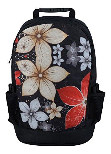 MySleeveDesign Zaino per ragazze ragazzi donne uomini e bambini – Borsa imbottita alla moda per la scuola con tasca per laptop – Spiaggia città sport - Colorato fiori farfalle - Red Flowers