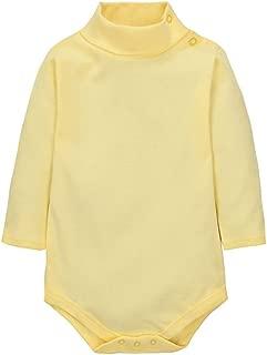 CuteOn Baby Boys Girls Solid Color Basic Turtleneck Cotton Bodysuit Jumpsuit Light Yellow 18 Months