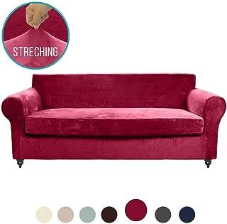 MOYMO 2-Piece Stretch Velvet Sofa Cover, High Stretch Sofa Slipcovers for Three Cushion Sofas, Couch Covers for Sofa, Living Room, Dogs, Sofa/Couch Slipcover(Sofa:Burgundy)