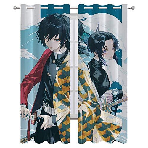 Cortina de ducha Lush Decor Anime Demon Slayer Tomioka Giyuu y Kochou Shinobu Modern Home Decor W55 x L39 pulgadas