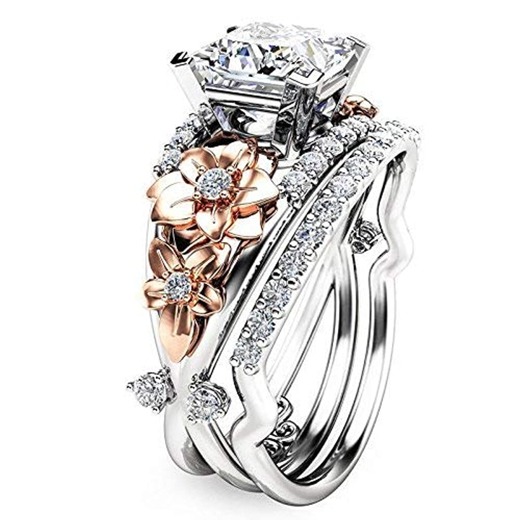 suchadaluckyshop by Lucky Gorgeous Women's 925 Silver White Sapphire Ring Set Gold Flower Wedding Jewelry (10)