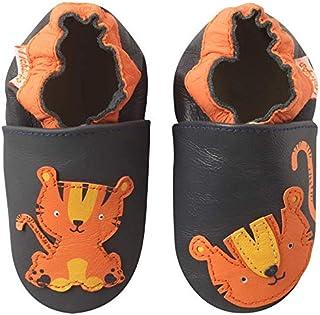 3a6d31b0ef767 Tichoups Chaussons bébé cuir souple Thibault le tigre 23 24