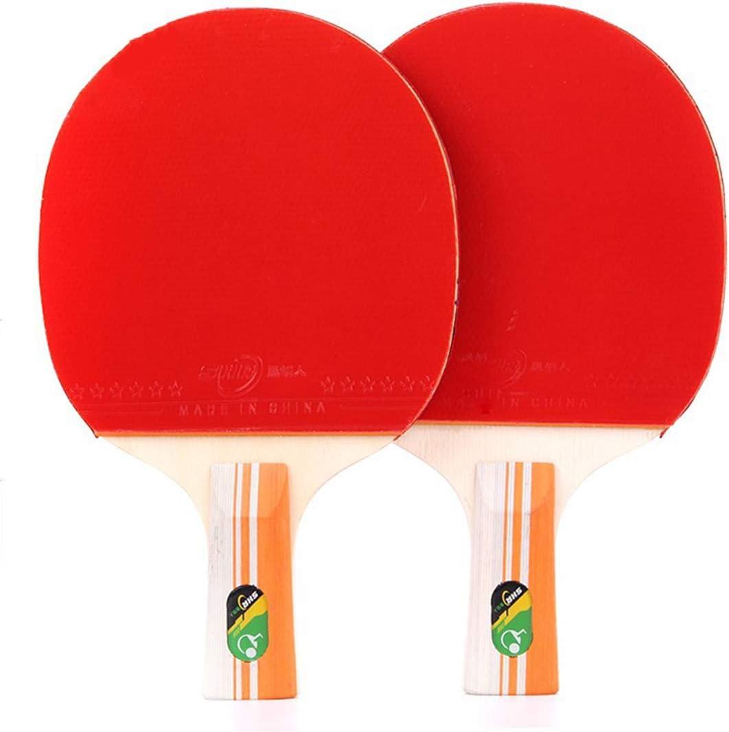 KUANDARPP Ping Pong Pala De Ping Pong para, El Colegio, En Exteriores O De Viaje 2 Raqueta Y 3 Pelotas De Tenis De Mesa Juego Velocidad Entrenadores Talla única, Red
