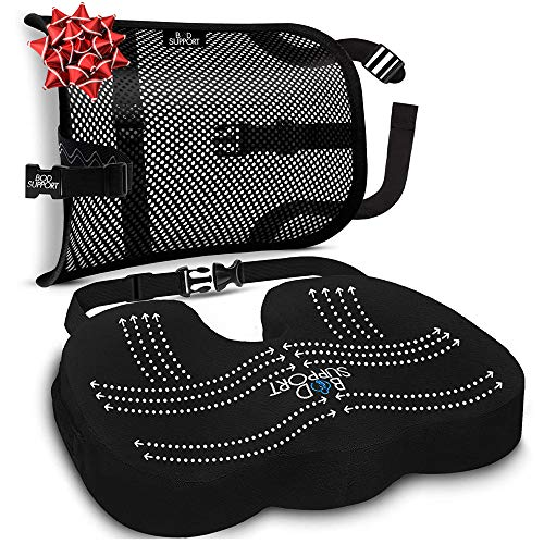 BOD Support Fully Adjustable Memory Foam Seat Cushion and Lumbar Support Suited for Office Chairs, Ergonomically Designed to Alleviate Back Pain Sciatica Relief for Car, Truck, Driver, Seniors