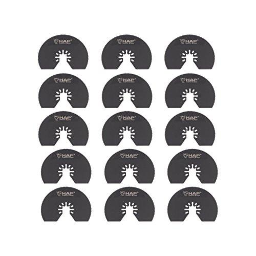 Harpow 15PCS Multi tool oscillerende messen HSS halve maan cirkelzaagbladen,1 Stuk, vermogen oscillerende gereedschap messen, multitool messen, power tool zaagbladen, past Fein Bosch Craftsman Rockwell Einhell Westfalia Ferm Pro-Line Matrix tools