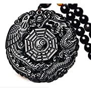 c1lint7785631 Pure Natural Obsidian Pendant Necklace Obsidian Crystal Pendant Necklace Pattern with Extend Bead Chain for Men or Women