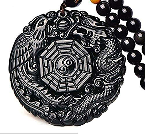 Pure Natural Obsidian Pendant Necklace Obsidian Crystal Pendant Necklace Pattern with Extend Bead Chain for Men or Women (Dragon Phoenix Gossip)