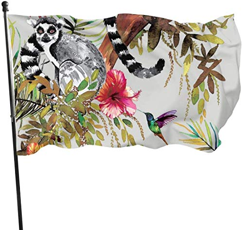 QiangQ Fahne Garden Flag Patry Flag Outdoor Flag Garden Flag Lemur Art Painting Outdoor Yard Flag Wall Lawn Banner Home Flag Decoration 3' X 5'