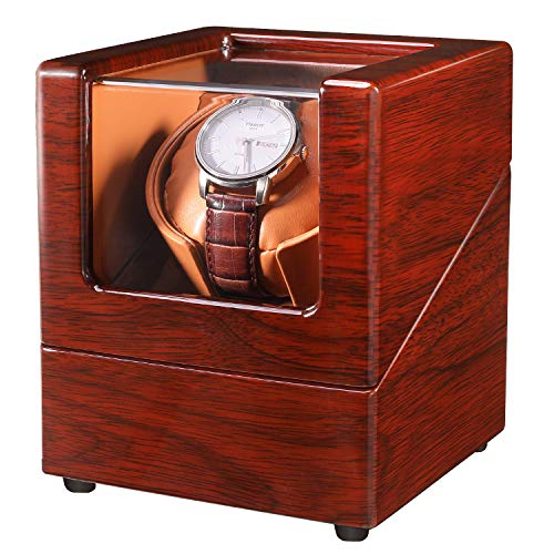 LLS Watch Winder for Single Automatic Watches with Quiet Motors Piano Paint by AC Adapter or Battery (Single watch-03)