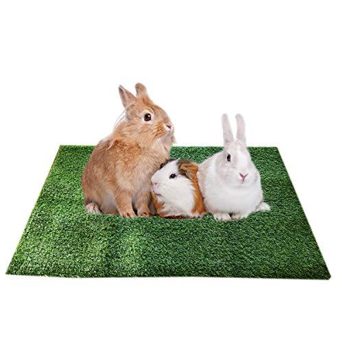 Amakunft Meerschweinchen Kaninchen Gras Pad Weicher Haustierfreundlicher Kunstrasen Waschbar Wasserdicht Gras Patch für Kleintiere Indoor Outdoor Laufen Spielen Schlafen