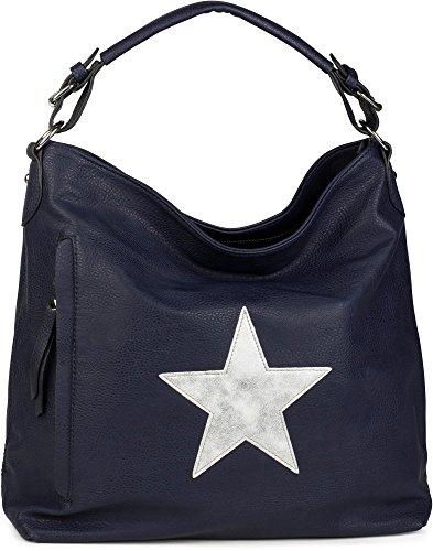 styleBREAKER Shopper Handtasche im Vintage Look mit Stern, Schultertasche, Umhängetasche, Damen 02012076, Farbe:Dunkelblau