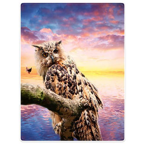 Violetpos Dick Decke Weich Wärme Gemütlich Flanell-Fleece Sofadecke Deckeldecke Schöner Himmel Meer Sonnenuntergang Eule Auf Einem AST Stehend 150 x 200 cm