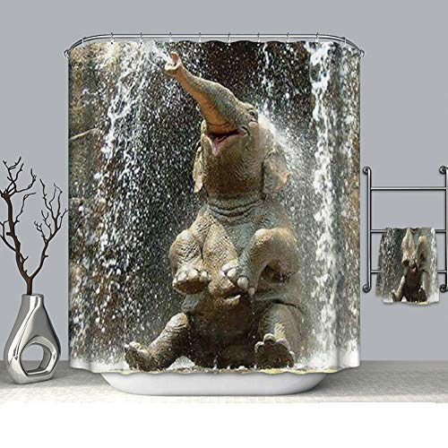 LYzpf Duschvorhang Moderner Tier 3D Digitaldruck Badzubehör aus Polyestergewebe Mode Hübsche Badezimmervorhänge für die Innendekoration Fensterbehandlung,Elephant,180X180CM