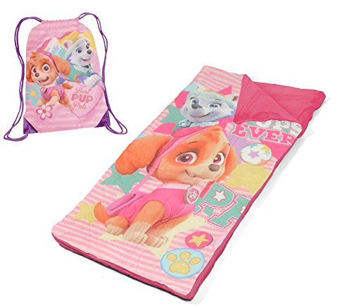 Nickelodeon Paw Patrol Skye and Everest Drawstring Carry Bag with Nap Mat, Pink