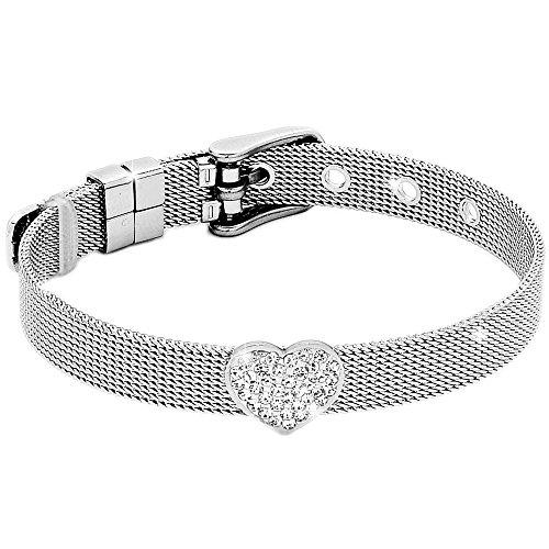 Beloved Bracciale da donna, braccialetto acciaio e cristalli con cinturino semirigido tipo orologio e chiusura a fibbia, lunghezza regolabile con char