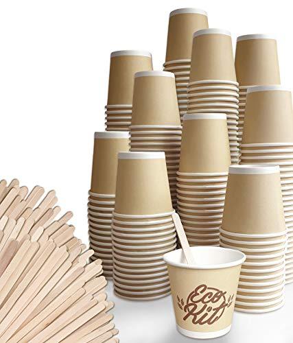 FMC SOLUTION Eco Kit Accessori da caffè e Tea 200 Bicchierini di Carta e 200 Palettine in Legno
