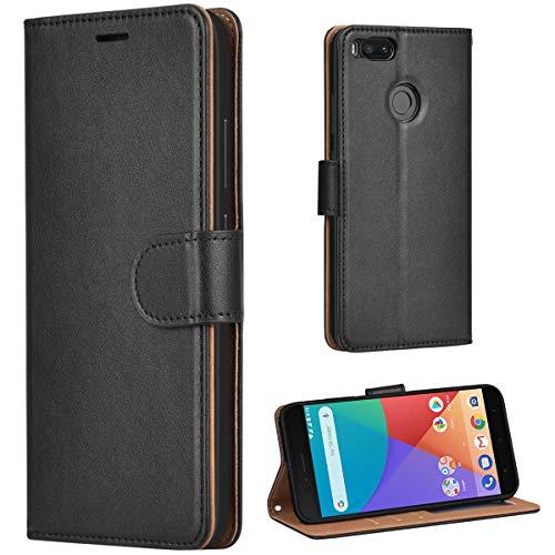 Leaum Xiaomi Mi A1 Hülle, Xiaomi Mi 5X Handyhülle Brieftasche Leder Tasche Flip Case für Xiaomi Mi A1 / Mi 5X Schutzhülle (Schwarz)