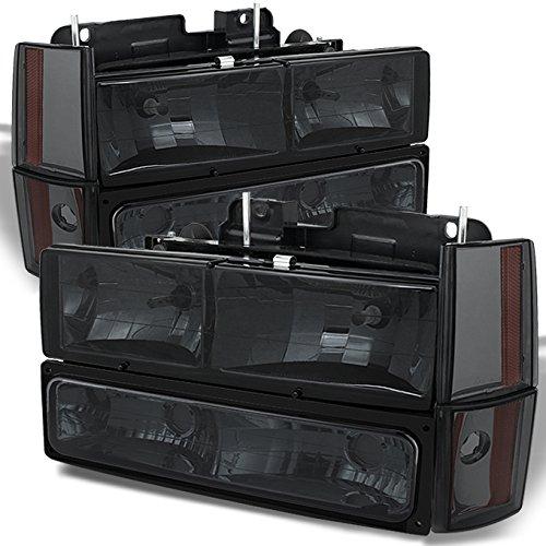 For Chevy C/K Series Silverado Suburban Tahoe Pickup Truck Smoked Lens Headlight + Bumper