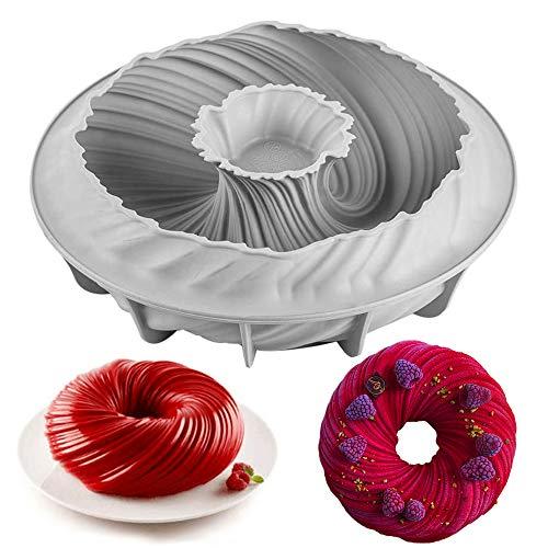 Gurxi Mousse Molde de Silicona para Pastel Espiral Mousse Silicona Cocina Espiral Molde de Silicona Antiadherente Profesional Rosquilla para Hacer Crutones Rosquilla Mousse (Gris)