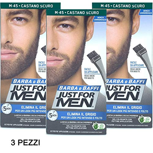 3 X JUST FOR MEN BARBA Y BAFFI COLOR TINTURA PERMANENTE CON PINZA SIN AMMONIACA CASTANO OSCURO M 45 GEL COLORANTE
