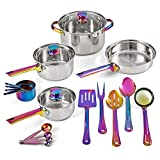 Iridescent Stainless Steel 20-Piece Cookware Set, with Kitchen Utensils and Tools, Ray Pots and Pans Set, Cooking Utensils Set