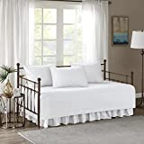 """Comfort Spaces Kienna Soft Microfiber Solid Blush Stitched Pattern 5 Piece Quilt Daybed Bedding Sets, 75""""x39"""", White"""