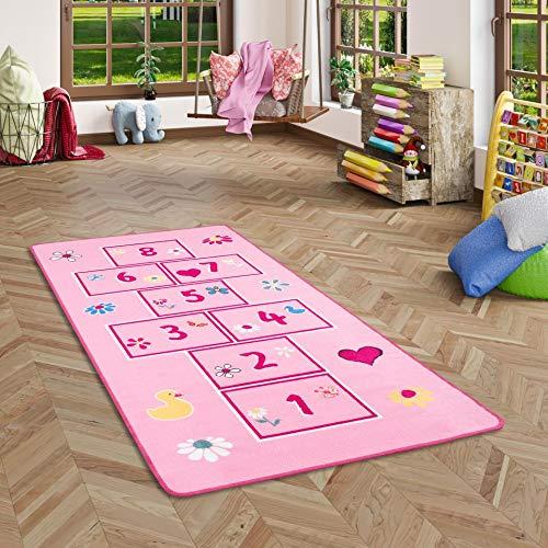 Pergamon Lernen und Spielen Kinderteppich Hüpfspiel Hüpfkästchen Rosa Bunt in 95x200 cm