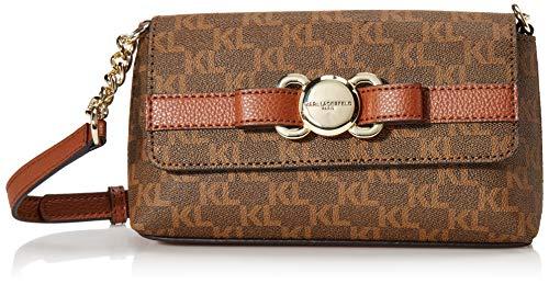 Karl Lagerfeld Paris Damen Bow Flap Amelia Signature Mini-Crossbody-Tasche mit Klappverschluss und Schleife, Brown/Khaki/Luggage, Einheitsgröße