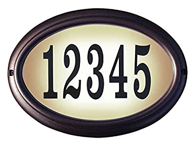 "Qualarc Edgewood Rust Free Cast Aluminum Oval Lighted Address Plaque with LED & 4"" Black Polymer Numbers"