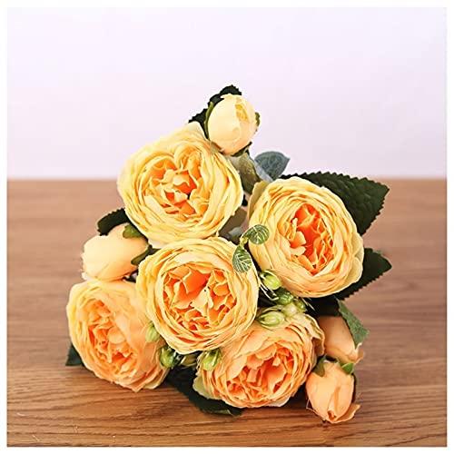 TS 30 Cm Rose Peony Simulación Flor, Habitación Y Oficina Decoración De Escritorio Adornos, Adornos De Decoración De Boda (Color : Yellow)